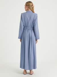 Blue - Point Collar - Unlined - Linen - Viscose - Dress