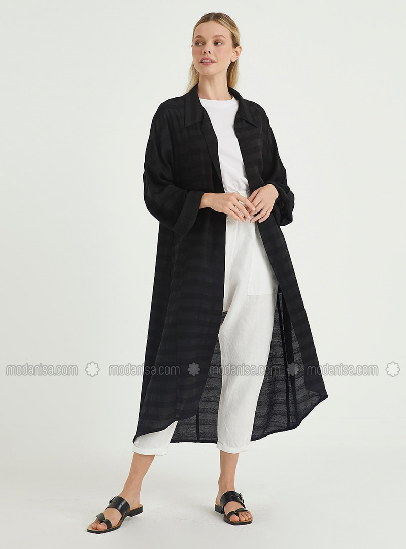 Black - Stripe - Unlined - Point Collar - Topcoat