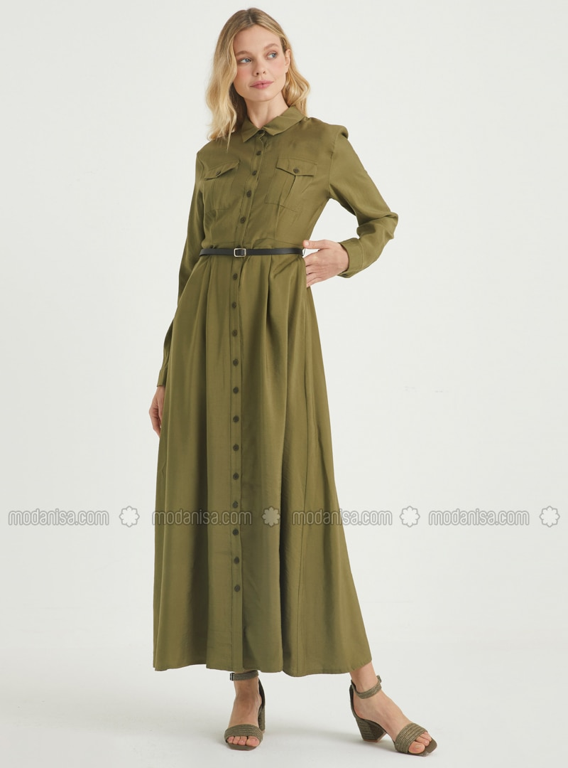 Khaki - Crew neck - Point Collar - Unlined - Viscose - Dress