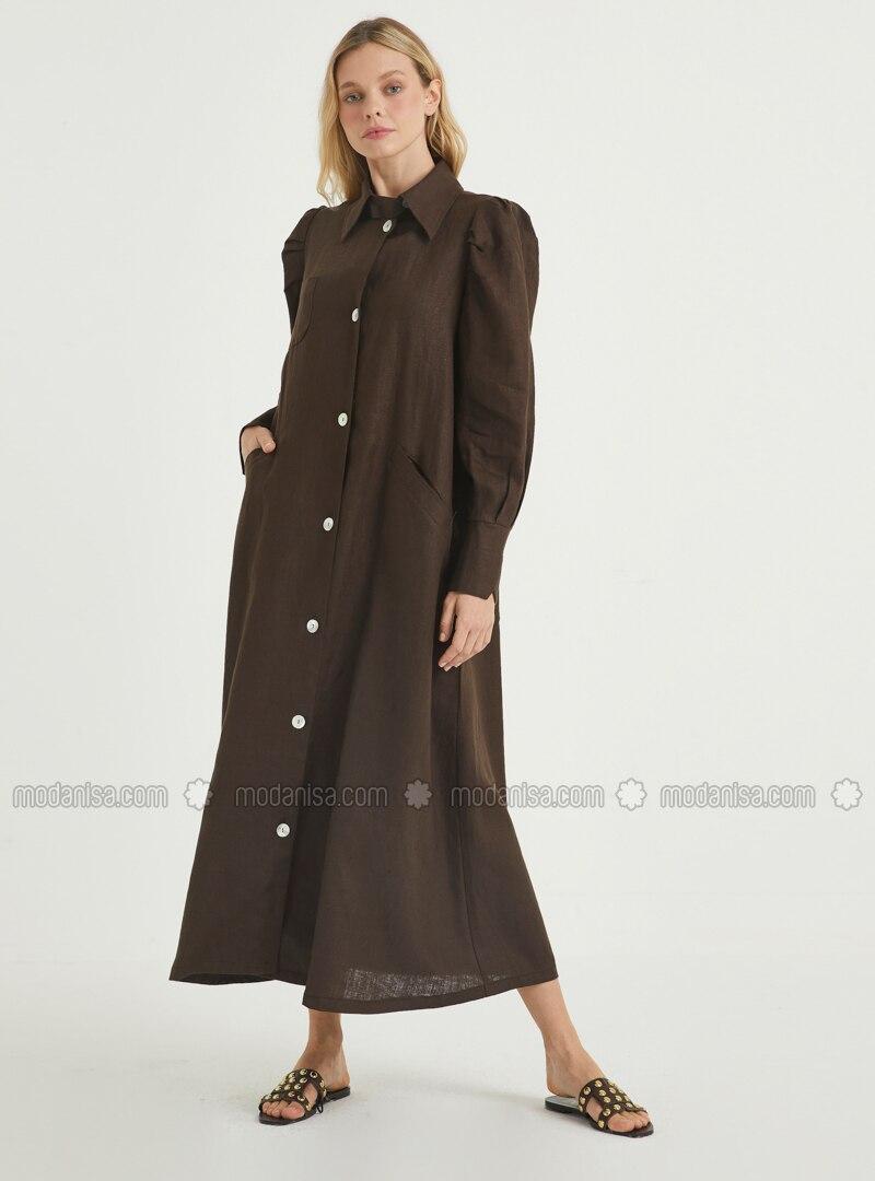 Brown - Point Collar - Unlined - Linen - Dress