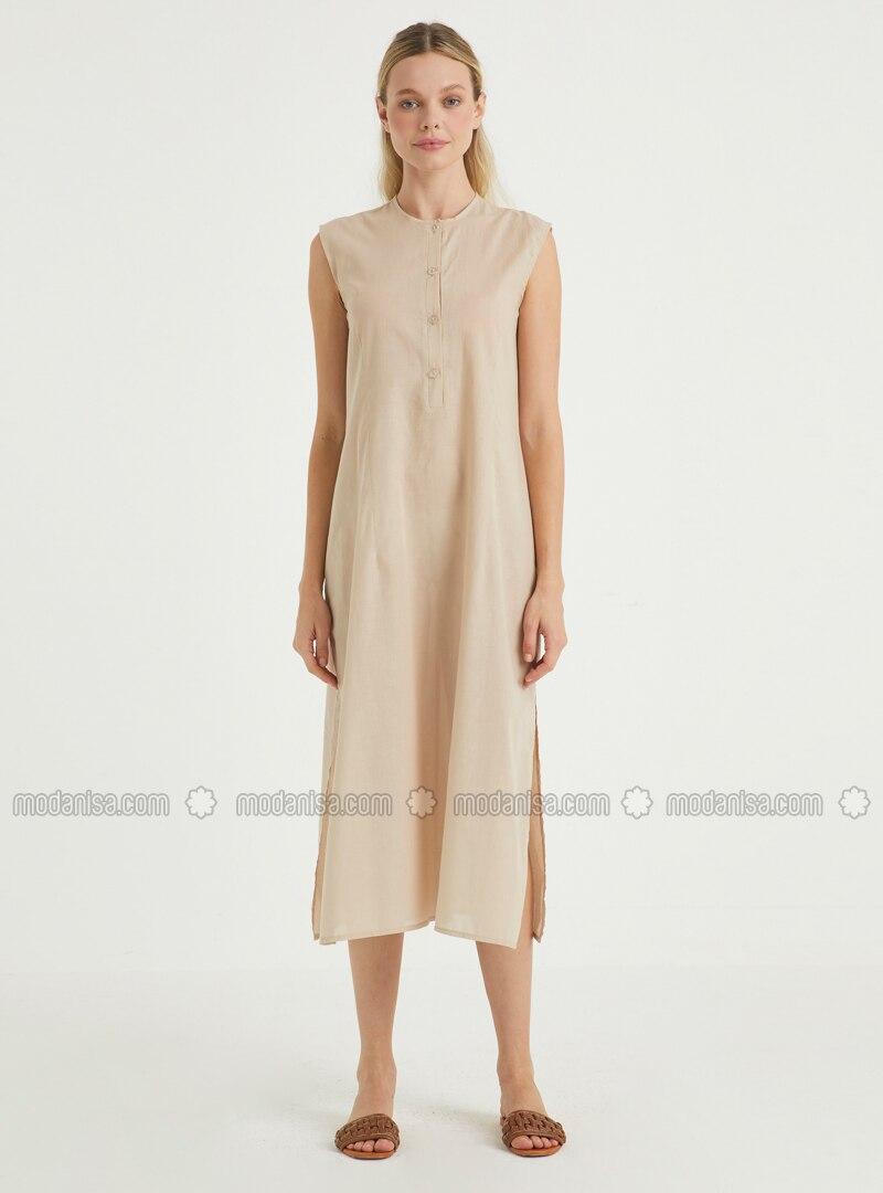 Cream - Crew neck - Unlined - Viscose - Dress