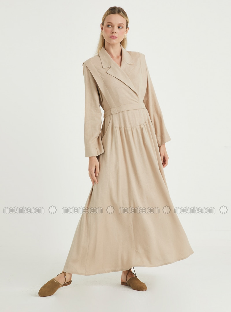 Cream - Point Collar - Unlined - Linen - Viscose - Dress