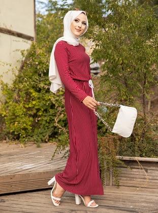 Maroon - Stripe - Crew neck - Unlined -  - Dress