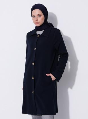 Navy Blue - Unlined - V neck Collar - Viscose - Coat