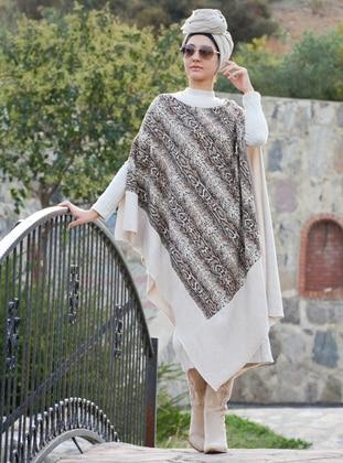 Cream - Multi - Unlined - Acrylic - Wool Blend - Poncho