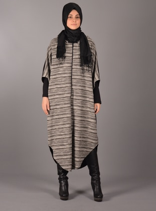 Black - Unlined - Acrylic - Wool Blend - Poncho