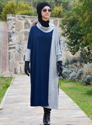 Gray - Navy Blue - Unlined - Acrylic - Wool Blend - Poncho