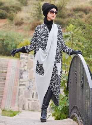 Gray - Multi - Unlined - Acrylic - Wool Blend - Poncho