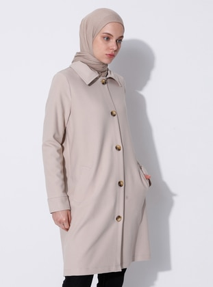 Beige - Unlined - V neck Collar - Viscose - Coat