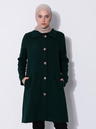 Green - Emerald - Unlined - V neck Collar - Viscose - Coat