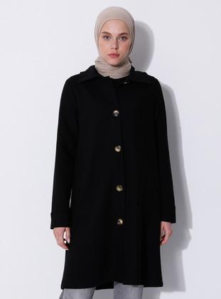 Black - Unlined - V neck Collar - Viscose - Coat