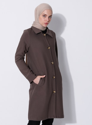 Mink - Unlined - V neck Collar - Viscose - Coat