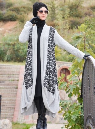 Gray - Multi - Unlined - Acrylic - Wool Blend - Abaya