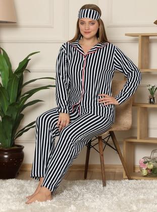 Navy Blue - Shawl Collar - V neck Collar - Stripe - Pyjama Set