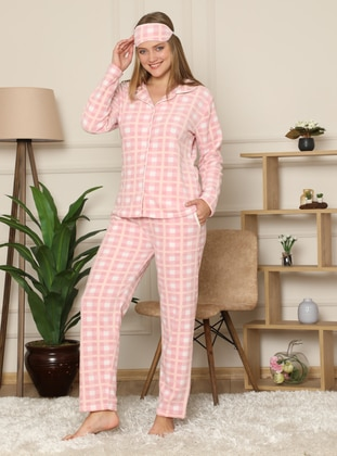 Powder - Shawl Collar - V neck Collar - Multi - Pyjama Set