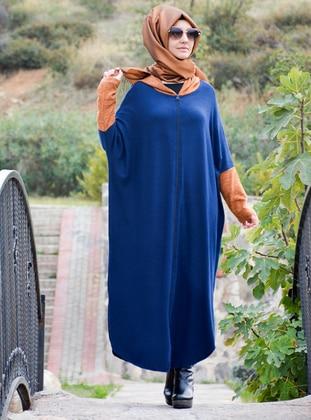 Navy Blue - Multi - Unlined - Acrylic - Wool Blend - Topcoat