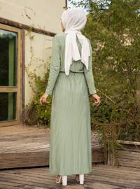 Mint - Stripe - Crew neck - Unlined -  - Dress