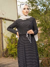 Black - Stripe - Crew neck - Unlined - - Dress