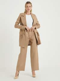 Cream - Unlined - Linen - Suit