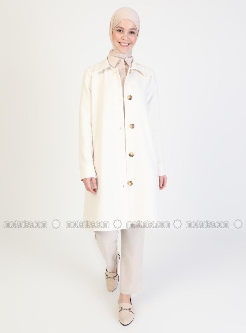 White - Ecru - Unlined - V neck Collar - Viscose - Coat