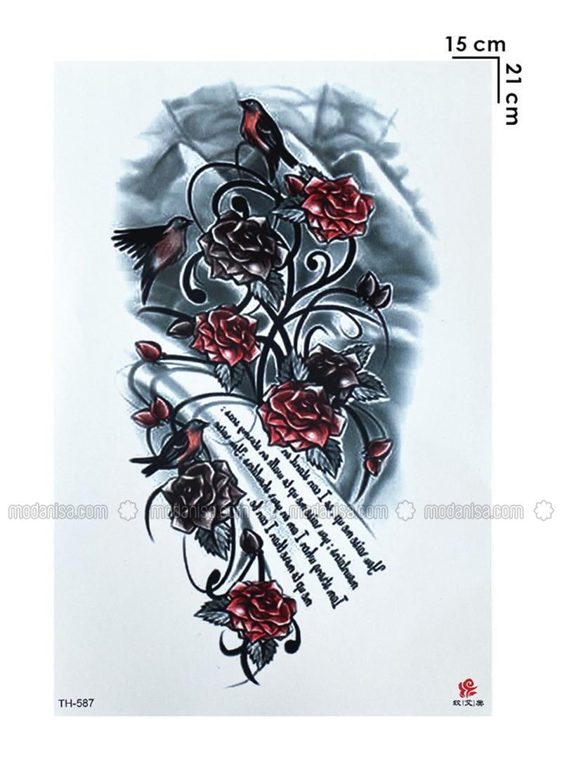 Temporary Rose Tattoo Tattoo - Coloured