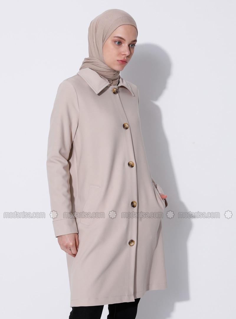 Beige - Unlined - V neck Collar - Viscose - Coat