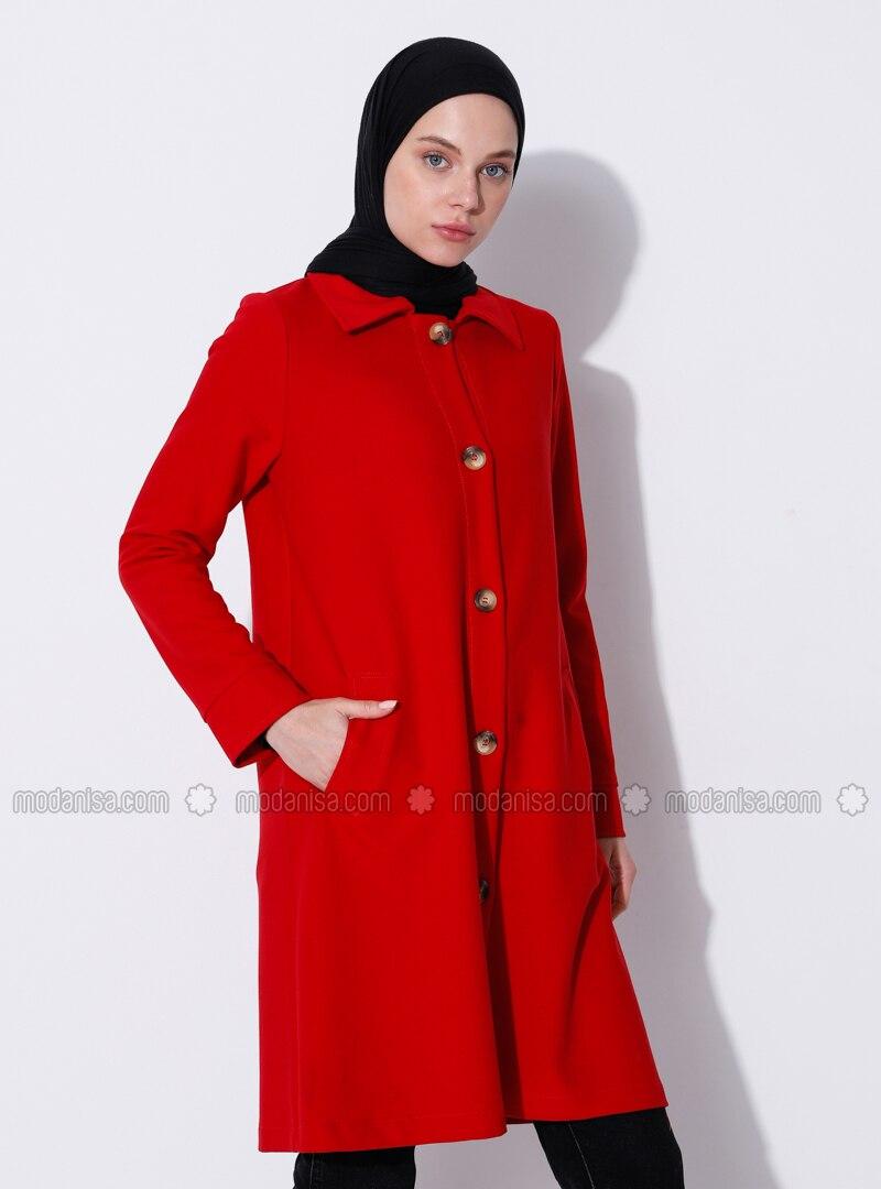 Red - Unlined - V neck Collar - Viscose - Coat