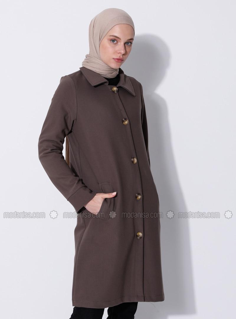 Mink - Unlined - V neck Collar - Viscose - Coat