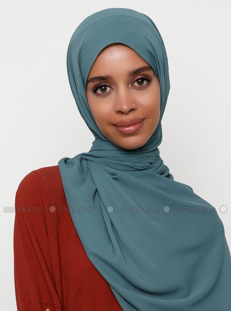 Turquoise - Plain - Shawl - Şal