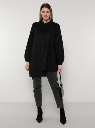 Black - Point Collar - Plus Size Tunic