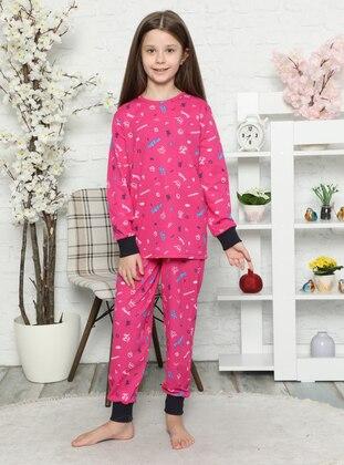 Multi - Crew neck -  - Unlined - Fuchsia - Girls` Pyjamas - Akbeniz Kids