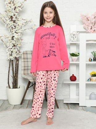 Multi - Crew neck -  - Unlined - Pink - Girls` Pyjamas - Akbeniz Kids