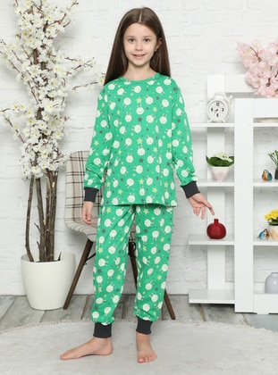 Multi - Crew neck -  - Unlined - Green - Girls` Pyjamas - Akbeniz Kids