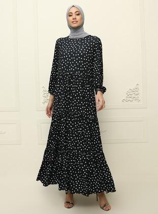 Navy Blue - Polka Dot - Unlined - Crew neck - Muslim Evening Dress
