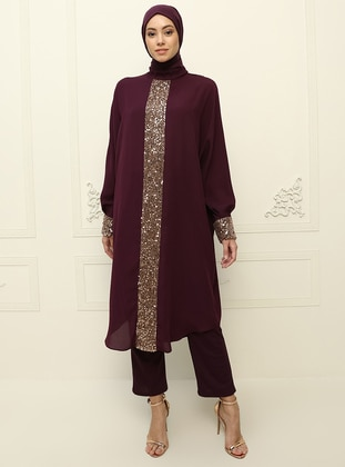 Plum - Crew neck - Plus Size Evening Tunics