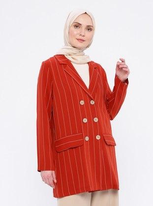 Terra Cotta - Stripe - Unlined - Shawl Collar - Blazer Jacket