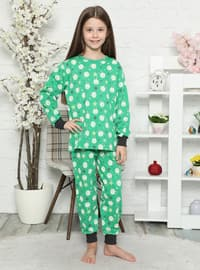 Multi - Crew neck - - Unlined - Green - Girls` Pyjamas