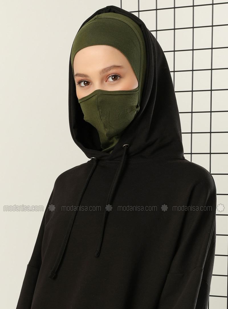 Khaki - Plain - Simple - Viscose - Bonnet