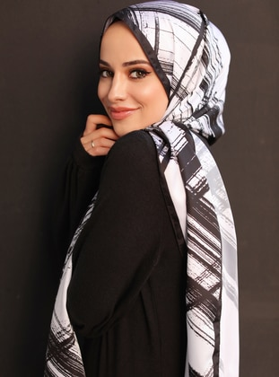 White - Multi - Black - Printed - Twill - Shawl - Şal