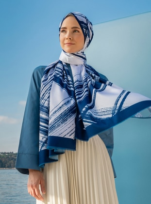 White - Multi - Navy Blue - Striped - Printed - Geometric - Twill - Shawl - Şal