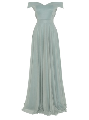 Green Almond - Fully Lined - Boat neck - Muslim Evening Dress