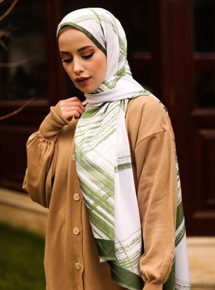 White - Multi - Green - Striped - Printed - Geometric - Twill - Shawl -  Şal