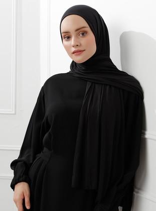 Black - Plain - Combed Cotton - Viscose - Shawl