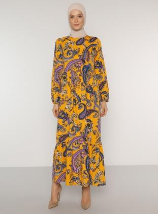 Mustard - Shawl - Crew neck - Unlined - Dress