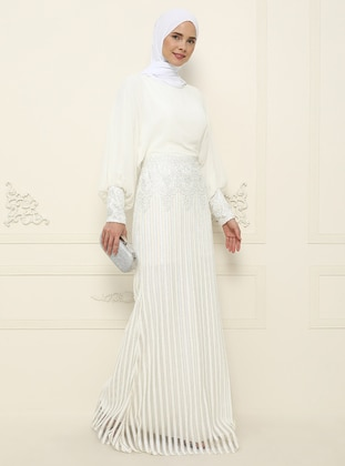 White - Fully Lined - Crew neck - Muslim Evening Dress
