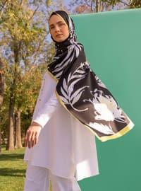 Multi - Black - Floral - Printed - Twill - Shawl - Şal
