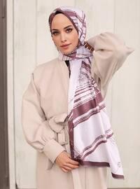 Dusty Rose - Multi - Striped - Printed - Geometric - Twill - Shawl -  Şal
