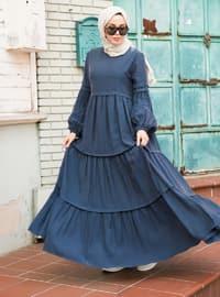 İndigo - Yuvarlak yakalı - Astarsız - Suni İpek - Elbise
