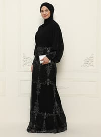 Black - Fully Lined - Crew neck - Modest Evening Dress