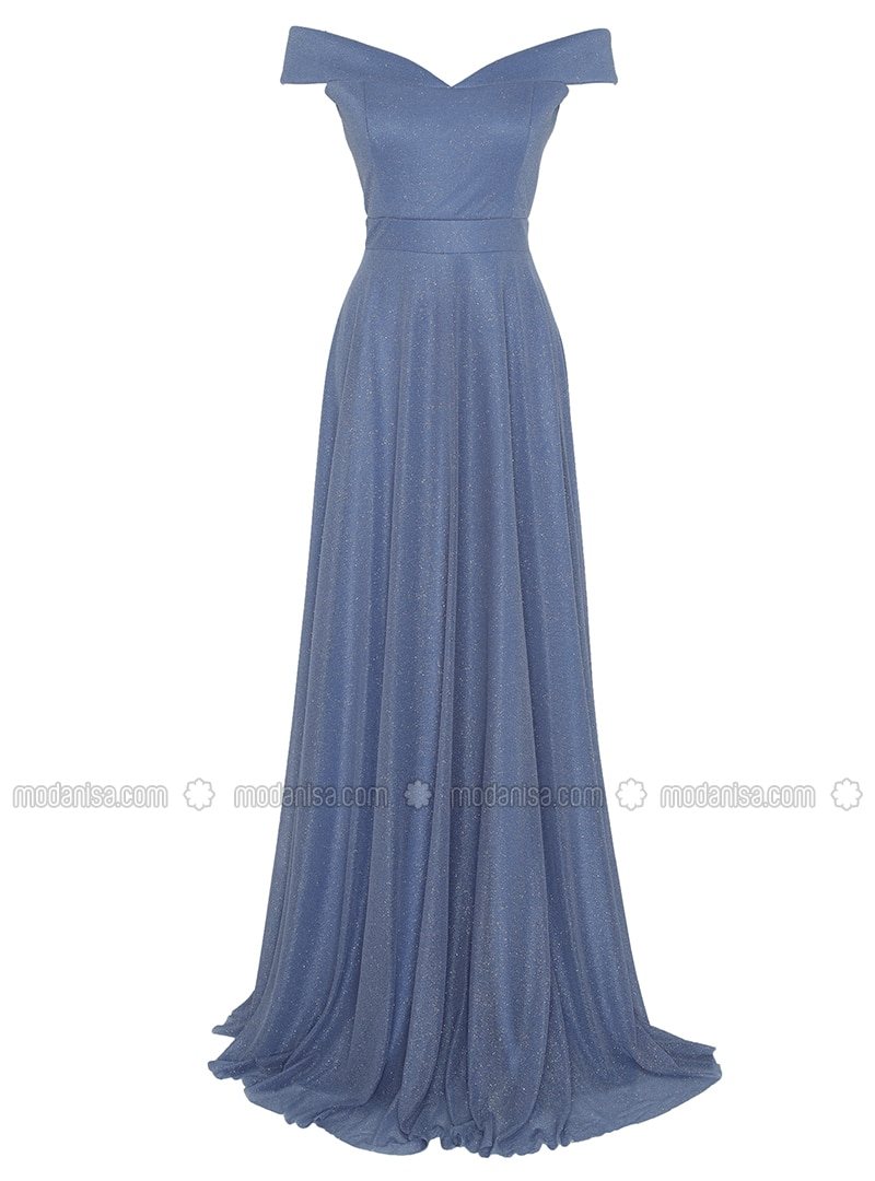 Indigo - Fully Lined - Boat neck - Muslim Evening Dress